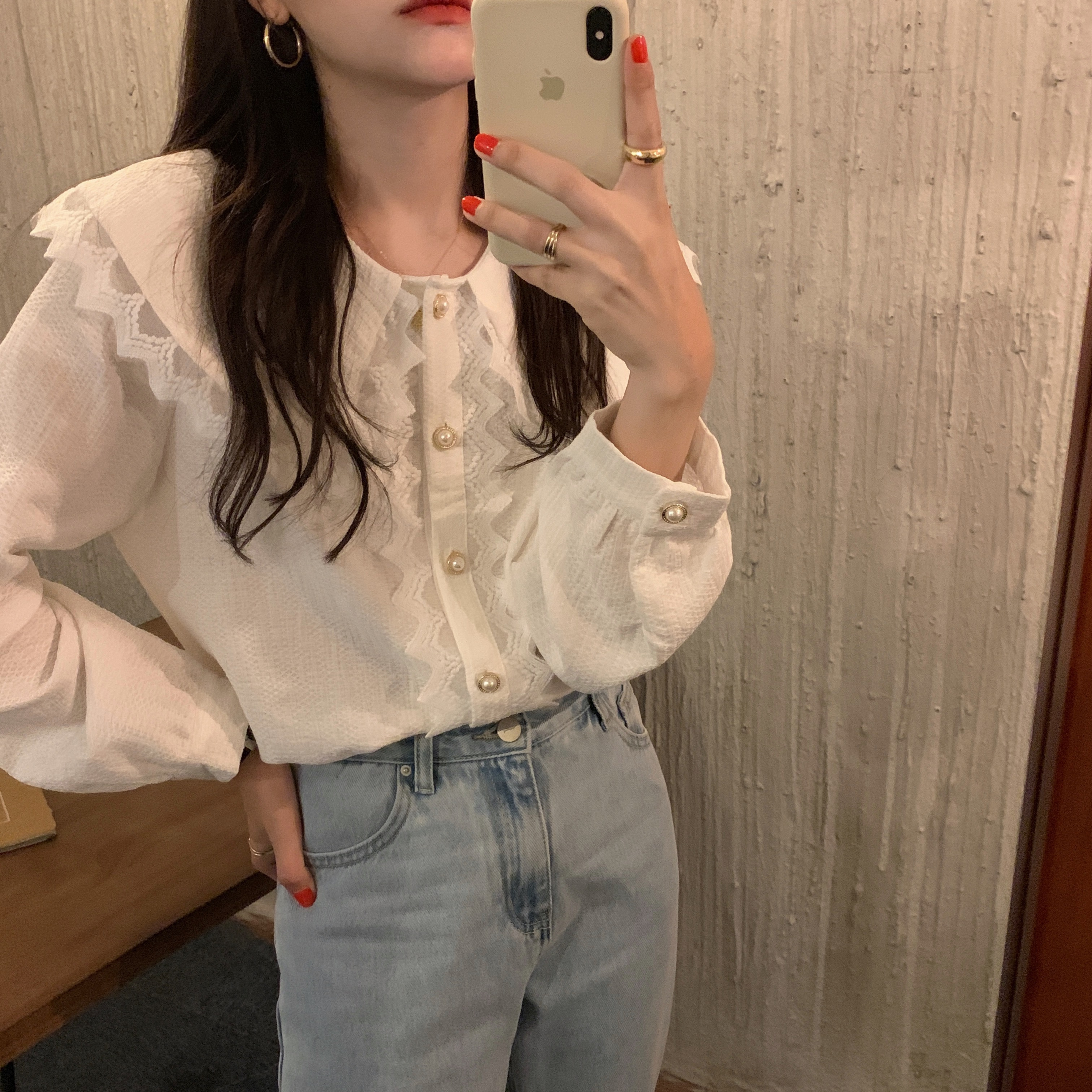 H3a90ab0a52704e3ea8c032af27432d6f6 - Spring / Autumn Big Lapel Collar Long Sleeves Lace Buttons Solid Blouse