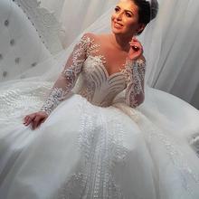 Suknia ślubna z długim rękawem 2021 elegancka suknia ślubna Vestidos De Noiva Custom szlafrok z długim rękawem de mariée koronkowa suknia ślubna tanie tanio miaoduo Z głębokim dekoltem Pełne Koronki Tren kapliczny CN (pochodzenie) Zwisające do podłogi Illusion Suknie ślubne