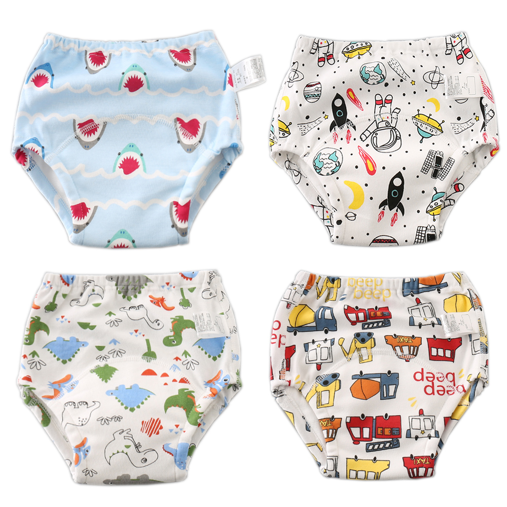 6 Layers Cotton Reusable Baby Potty Training Pants Doodle Design Cloth Diaper Nappy Panties Child Toddler Underwear