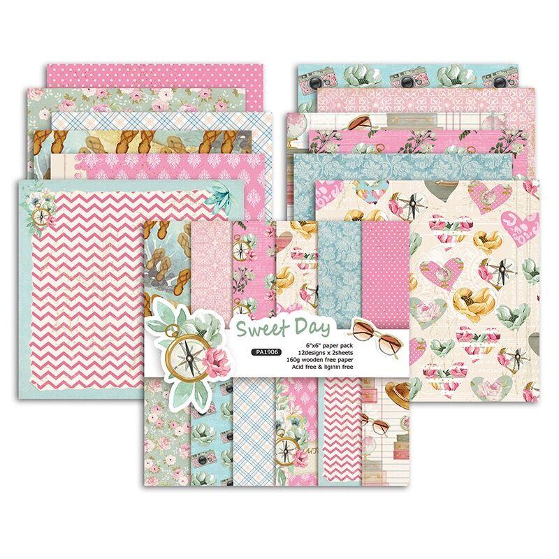 24 Sheets Sweet Day Scrapbooking Pads Paper Origami Art Background Paper Card Making DIY Scrapbook Paper Craft C1034