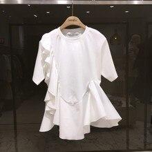 2020 Summer New Ruffled Hem Stitching Short-Sleeved T-shirt Female Temperament T