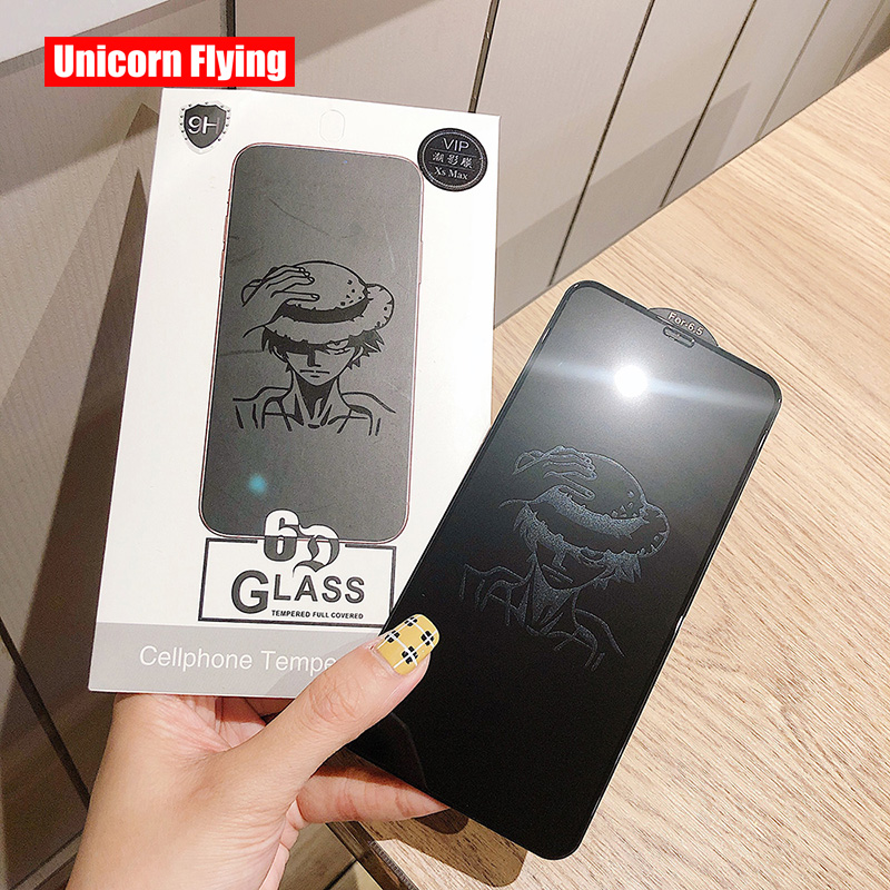 LinXiang Invisible Anime Pattern One Piece Luffy 6D Tempered Glass Screen Protector For IPhone 6 6s 7 8 Plus X XR XS Max 11 Pro