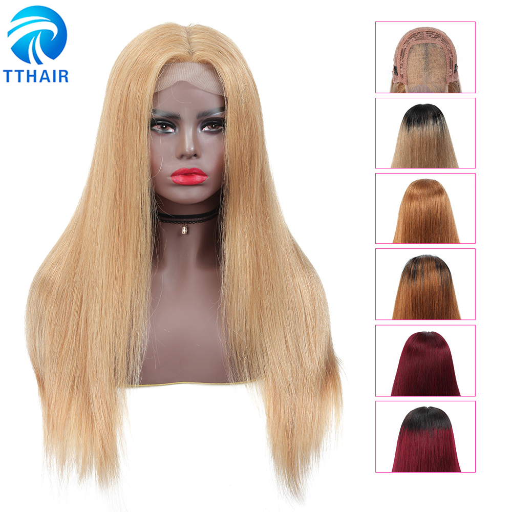 TTHAIR Straight 4x4 Lace Closure Wig Ombre Human Hair Wigs Transparent Lace Frontal Wigs Brazilian Remy Honey Blonde Human Wigs