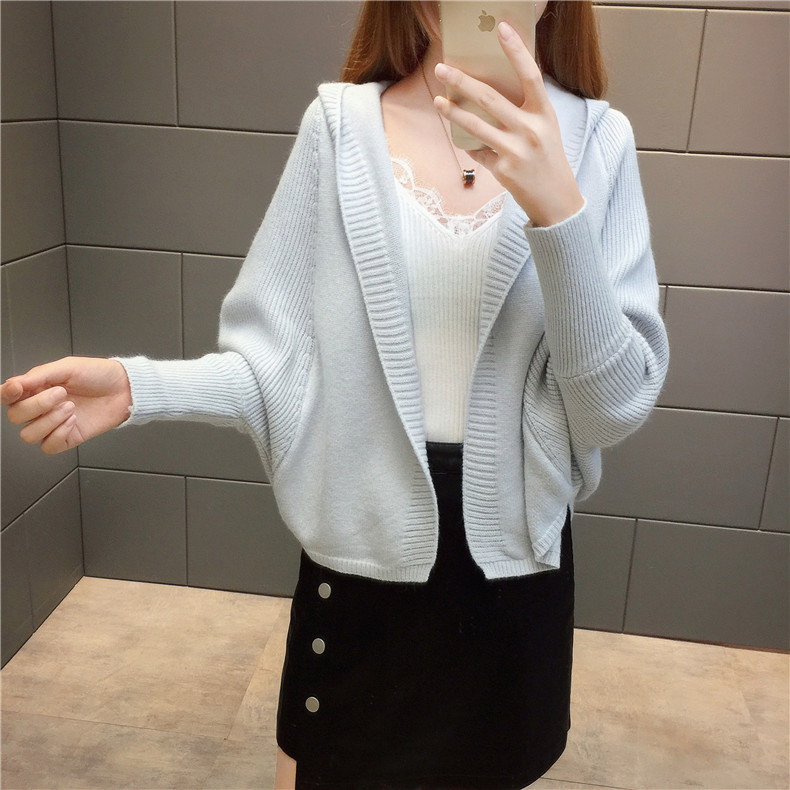 2019 Free send New style Korean loose and comfortable Autumn women Cardigan Sleeve of bat Hooded Sweater coat 116