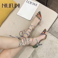 NIUFUNI 2020 Sexy Pointed Toe Snake Print Women Sandals Plus Size 35-41 Ankle Strap High Heels Casual Lace Up Shoes For Women red sandals women high heels sandals pointed toe ankle strap summer sandals women sexy dress shoes woman lace up sandals k 013