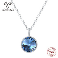 Viennois 925 Sterling Silver Chain Necklace Round Circle Paved Rhinestones Pendant Crystal for Women Jewelry 2019
