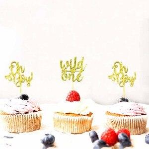Image 4 - 10Pcs Glitter Goud Oh Baby Cupcake Toppers Oh Jongen Meisje Baby Shower Ballon 1st Gelukkige Verjaardag Taart Decoratie Kids feestartikelen