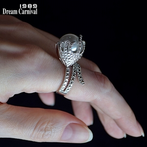 DreamCarnival1989 New Version Hot Selling Pearl Rings Women Gorgeous Lovely Design Wedding Engagement Ring Amazing Price WA11410