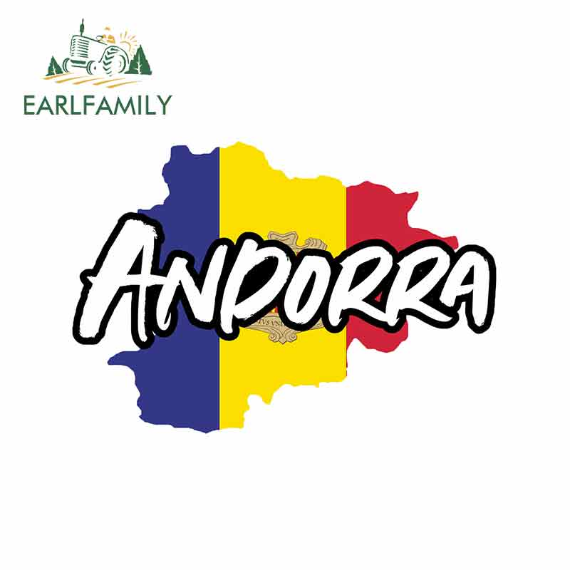 EARLFAMILY 13cm x 8.9cm for Andorra Map Funny Car Stickers Vinyl Refrigerator RV VAN 3D Car Accessories Graphics JDM Sign image