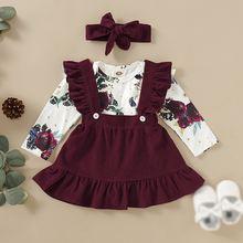 Осенняя одежда для маленьких девочек юбки комбинезон с длинными
