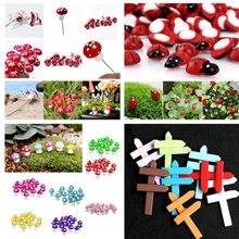 10 Pçs/lote Kawaii Cogumelo Joaninha Placa do Sinal Tabuleta Mini Jardim Dos Animais Estátua Em Miniatura Ofício da Resina de Fadas