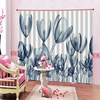 Decoration curtains Customized size Luxury Blackout 3D Window Curtains For Living Room flower lily curtains