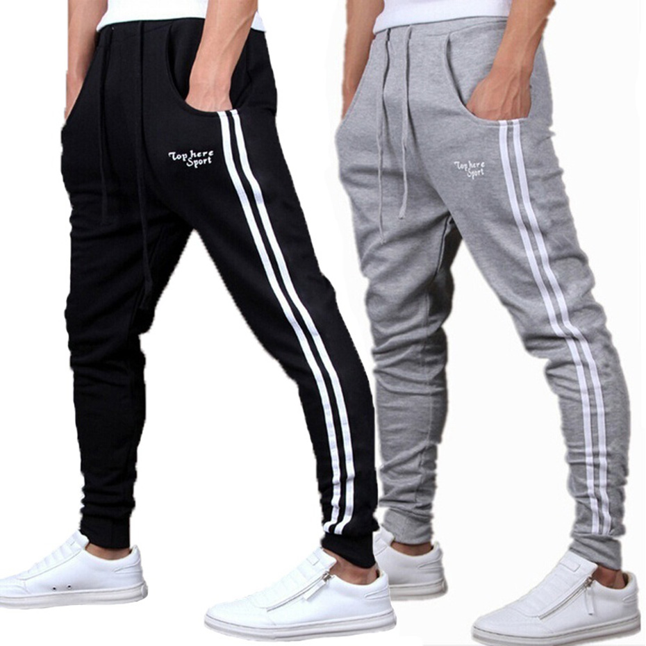 Spring Summer Mens Pants Fashion Skinny Sweatpants Mens Joggers Striped Slim Fitted Pants Gyms Clothing Plus Size 3XL Harem Pant