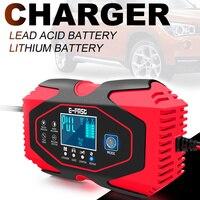 Cargador de batería inteligente Pro 12V 6A para motocicleta, Carga rápida inteligente de ácido de plomo para Moto, 6-120Ah, pantalla LCD Digital