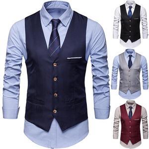 Plus Size Formal Men Vests Solid Color Suit Vest Single Breasted Business Waistcoat Vest business casual vest Men's Business Cas
