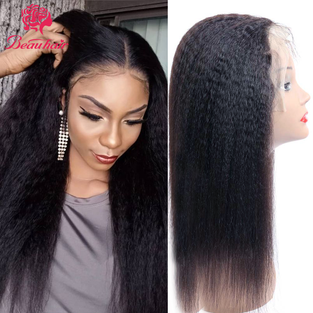 Malaysian  Human Hair Wig Kinky Straight 360 Lace Frontal Wig 13x4 Lace Front Wigs Natural Hair Line Glueness For Women Remy Wig