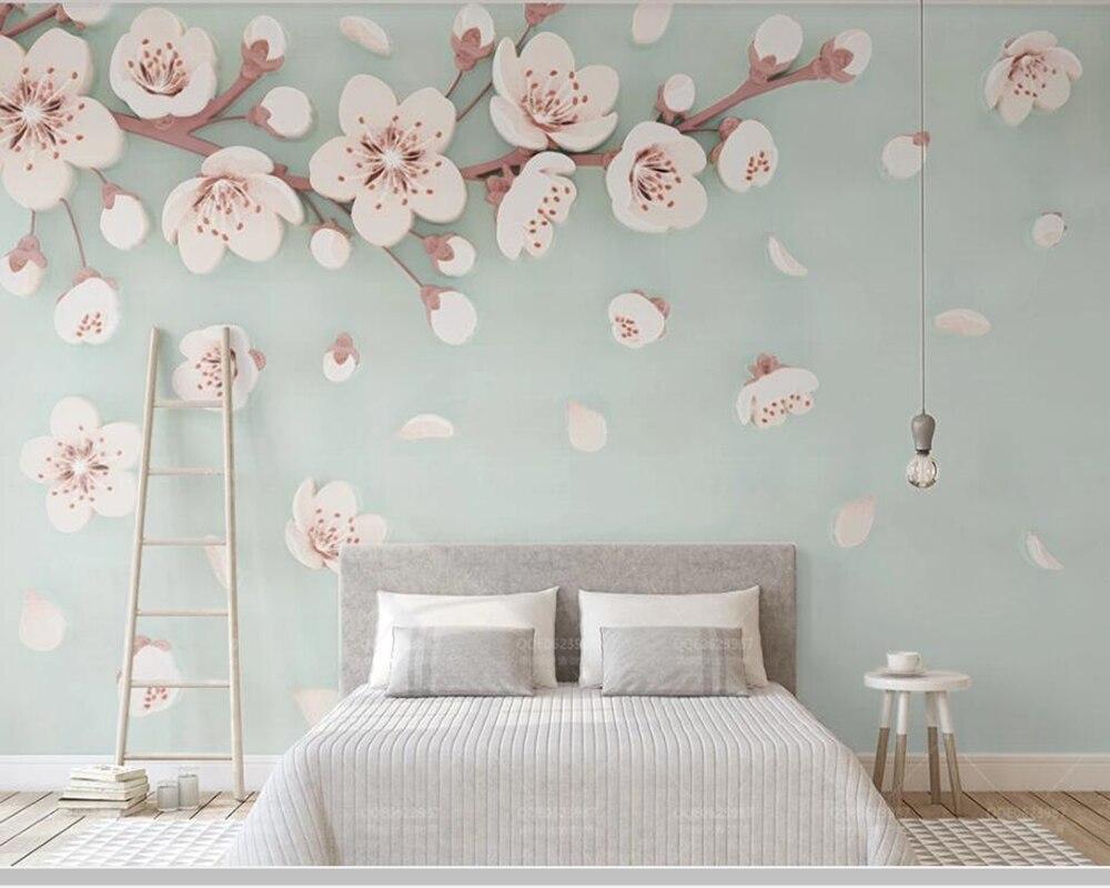 Papel de parede Relief cerisier fleur prune moderne 3d papier peint, salon TV mur enfants chambre papiers peints décor à la maison murale