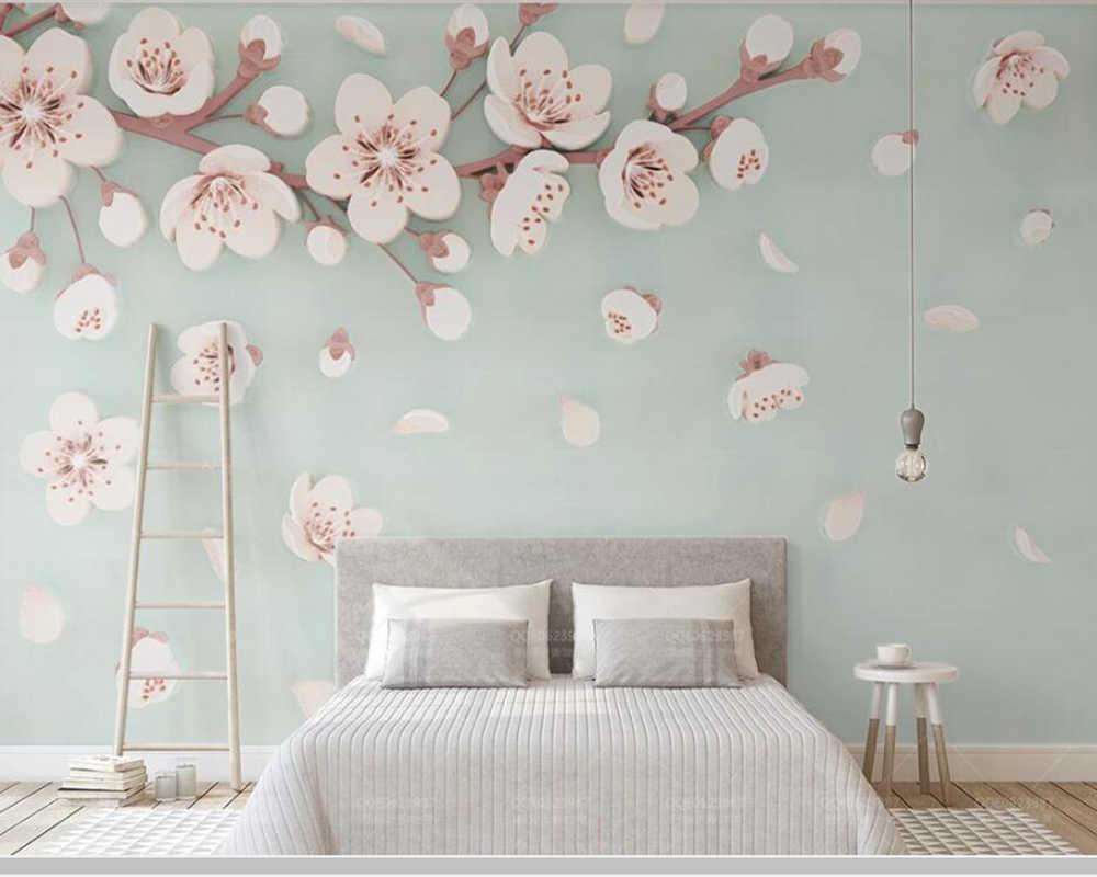 Papel de parede relieve cereza flor de ciruelo moderno Papel pintado 3d, sala de estar Pared de TV niños dormitorio papeles tapiz decoración del hogar mural