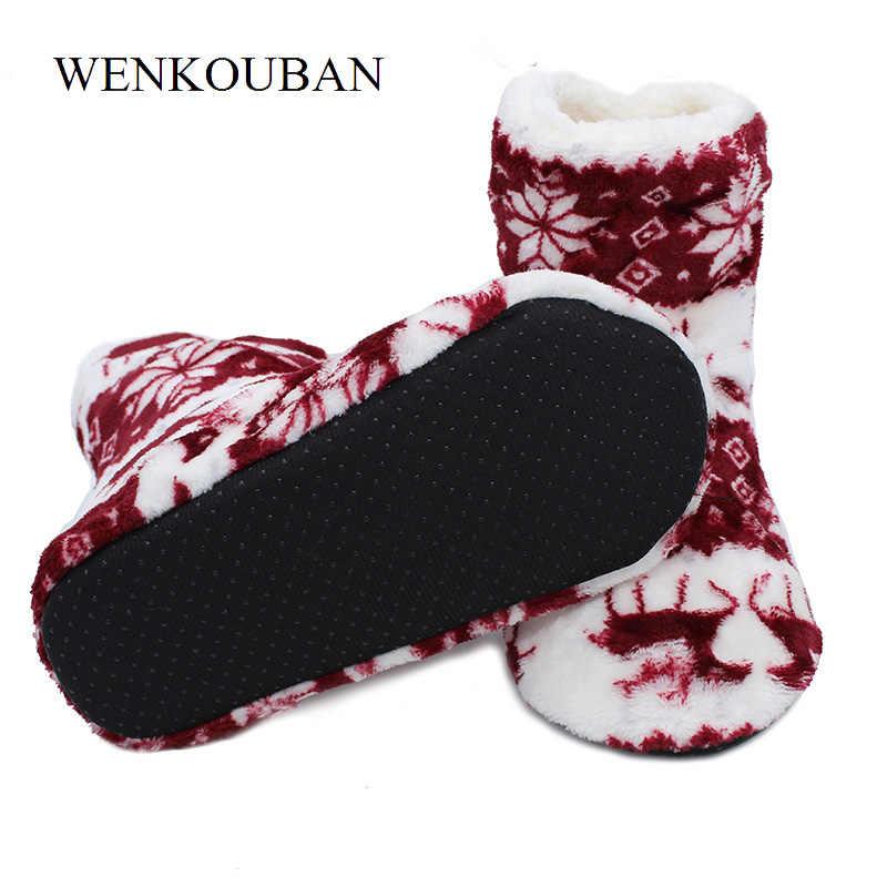 Noel yarım çizmeler Kadınlar Sıcak Ev Botları Kış Yumuşak Kürk Çorap Ayakkabı Bayanlar Rahat Pamuk Kapalı Ayakkabı Botas Mujer Invierno