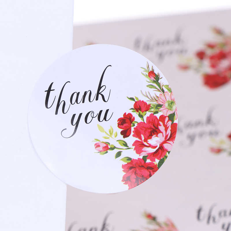 "120Pcs/10 Sheets  40mm round flower ""thank you""packaging seals sticker labels for envelope wedding birthday gifts"
