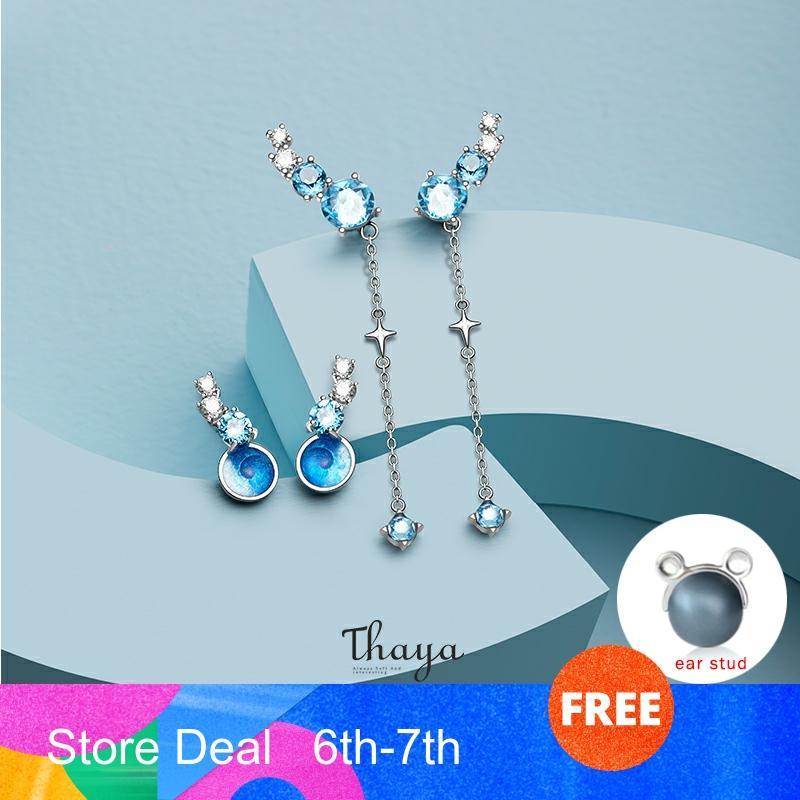 Thaya Nebula Zircon Earrings Original Design Stud Earrings S925 Sterling Silver Long Line Earring For Womem Fine Jewelry
