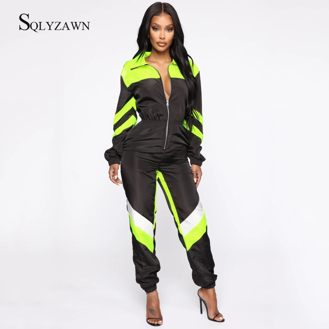 Casual Neon Color Patchwork Loose Jumpsuits Women Zipper  Long Sleeve Rompers Fashion Autumn 2019 One-piece Jumpsuit Overalls