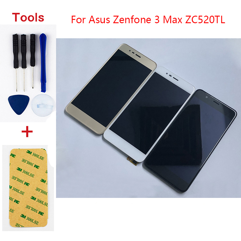 For <font><b>Asus</b></font> <font><b>Zenfone</b></font> <font><b>3</b></font> <font><b>Max</b></font> <font><b>ZC520TL</b></font> X008D Sensor Glass Touch Screen Digitizer + LCD <font><b>Display</b></font> Panel Monitor Module Assembly with Frame image