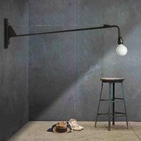 Loft Jean Prouve Dining Room Wall Lamp Retro Long Arm Lights Industrial Bar/ Cafe / Designer Light With Led Bulbs