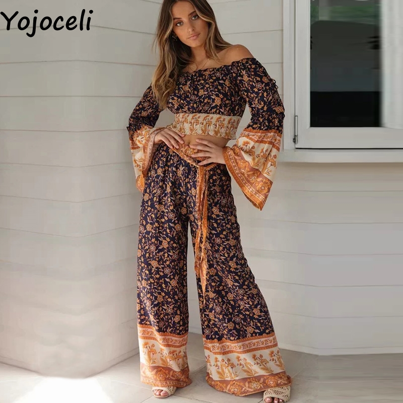 Yojoceli sashes print boho elegant beach   pants   women Sexy loose   wide     leg     pants   High waist cool bottom trouse female