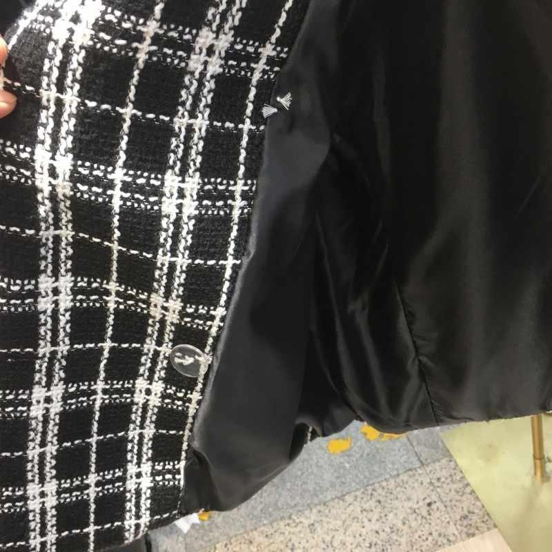 Biurowa, damska garnitury casualowe kamizelka Plaid bezrękawnik kobiety z kołnierzykiem z klapami luźny krój kamizelka odznaka odzież wierzchnia płaszcz bezpłatny rozmiar