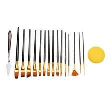 цена на 15Pcs Nylon Hair Art Painting Brushes Set Watercolor Paint Brush Pen For Acrylic Oil Oil Face Painting Pro Artist Paint Brush