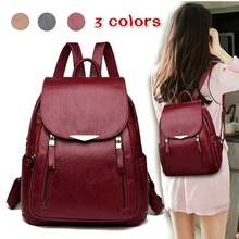 New Large Capacity Casual Backpack Female Student Bookbag Female Double Zipper Shoulder Bag Leather Women's Backpack clear design double zipper front backpack
