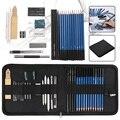 32 pçs conjunto de desenho de desenho profissional saco de transporte kit lápis de carvão grafite para estudantes da arte escola pintura suprimentos