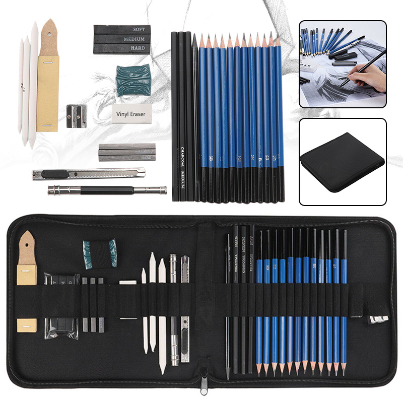 32pcs Professional Sketching Drawing Set Carrying Bag Graphite Charcoal Pencil Kit For Art Students School Painting Supplies