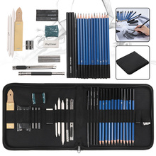 32pcs Professional Sketching Drawing Set Carrying Bag Graphite Charcoal Pencil Kit for Art Students School Painting Supplies 32pcs professional drawing artist kit pencils sketch charcoal art craft with carrying bag tools