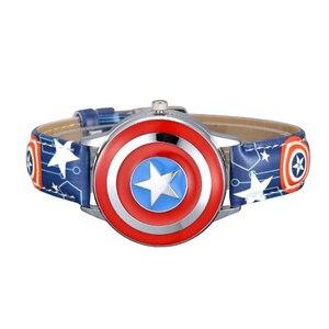 Image 2 - Marvel Avengers Captain America Child Leather PU Waterproof Children Quartz Flip Metal Case Watches Disney Super Hero Boys Clock