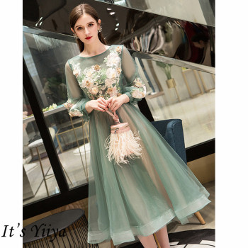 It's Yiiya Evening Dress 2019 Elegant O-Neck Appliques Plus Size Robe De Soiree Applieus Women Party Night Dresses E773 1