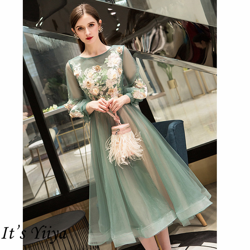 It's Yiiya Evening Dress 2019 Elegant O-Neck Appliques Plus Size Robe De Soiree Applieus Women Party Night Dresses E773