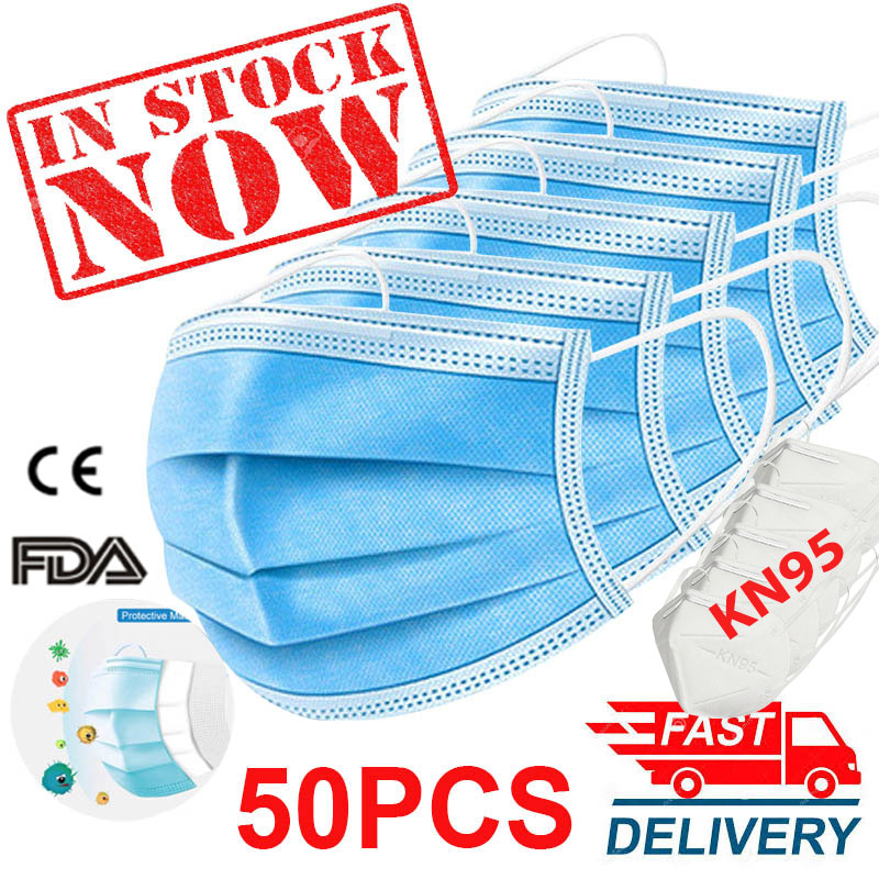 50PCS/Pack Disposable Mask 3-Layer Non-woven Disposable Breathable Mouth Mask Anti Fust Face Mask As KN95 KF94