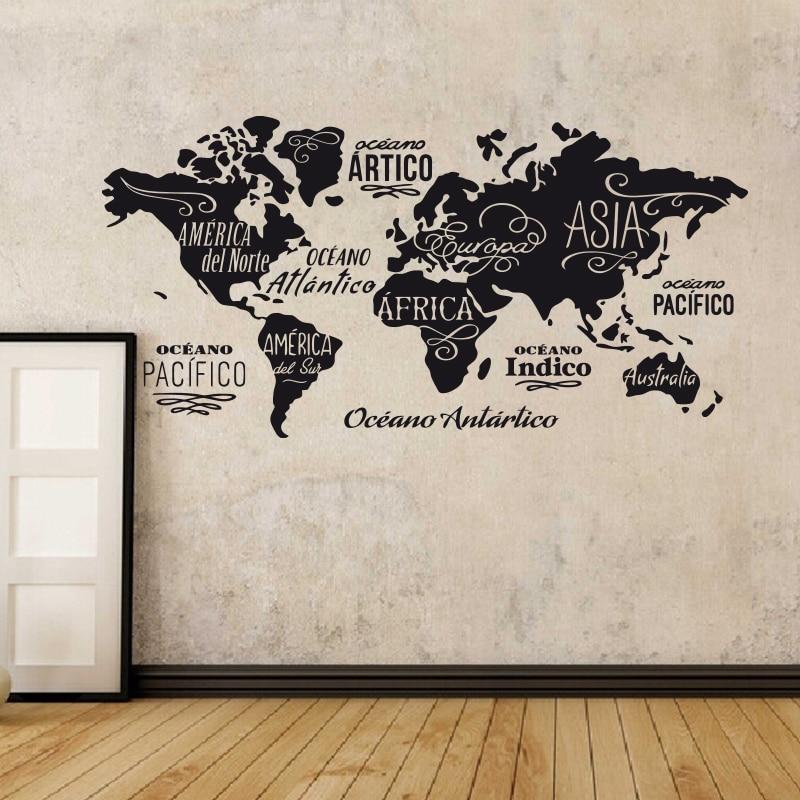 Mapa do mundo em palavras vinil adesivos de parede oceanos e continentes em espanhol casa decoração decalques diy casa decoração para sala estar