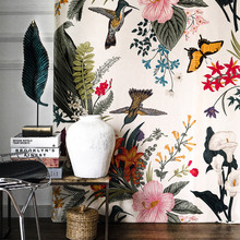 Blackout Curtains for Living Room Bedroom Luxury Velvet Curtain Birds Flower Printed Blinds Creative Drapes Eco-friendly Curtain