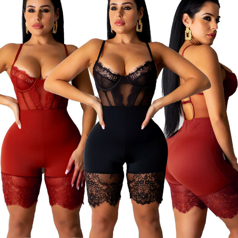 Women Sexy Romper Lace Backless Shorts Jumpsuit Hollow Out Playsuit Bodysuit