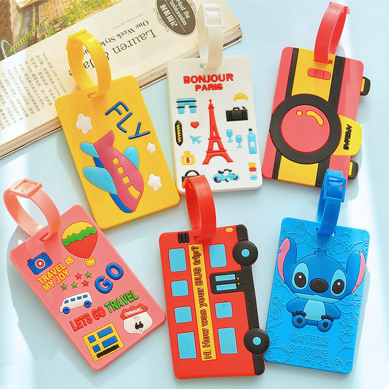 Travel Accessories Cartoon Letter Airplane Portable Luggage Tags Silica Gel Suitcase Addres Holder Label Women Baggage Boarding