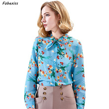100% Mulberry Silk Blouses Women Long Sleeve Bow Collar Elegant Floral Natural Crepe Chiffon Buttoned Office Wear