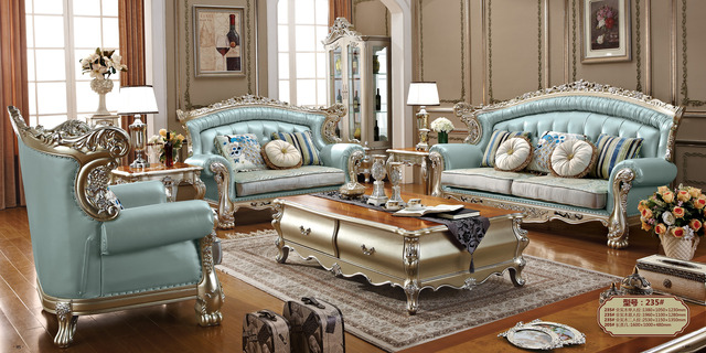 Factory wholesale luxury top quality genuine leather sofa set living room furniture camas 1