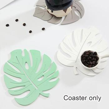 Placemat For dining table Coasters Leaf Palm Plant Table PVC Cup Decor Kitchen Coffee Leaf Simulation Home Mats Chris A9D7 image