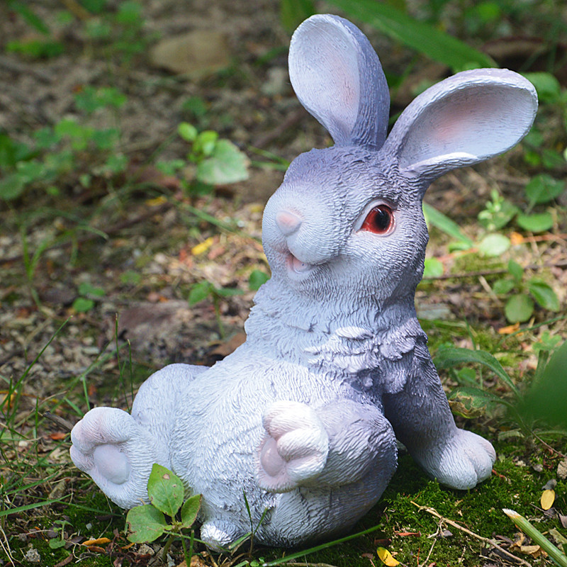 Cute Resin Sitting Rabbit Statue Lying Leisure Animal Outdoor Garden Sculpture Home Desk Office Room Decor Gift Party Decoration