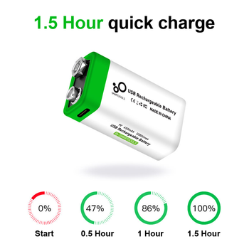 9V 650mAh lithium Rechargeable battery USB charging 9 v li-ion Square battery for Toy Remote Control KTV Multimeter Microphone 2