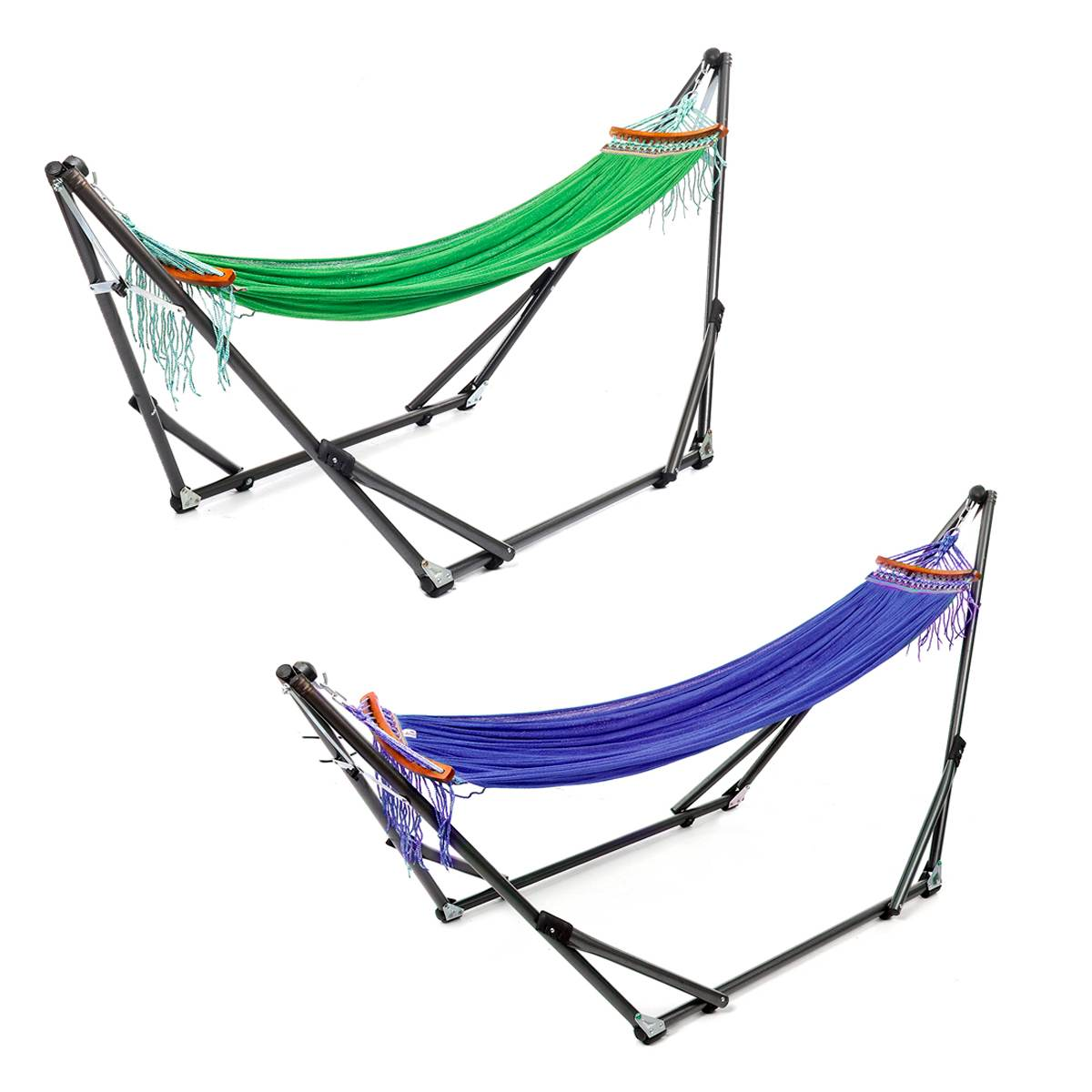 Folding Hammock Stand Bag Set 250KG Portable Steel Pipe Sleeping Swing Garden Outdoor Furniture Hunting Camping Accessories Kit - 4