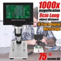 """1000x2.0 MP USB cyfrowy mikroskop elektroniczny DM5 4.3 """"wyświetlacz LCD VGA mikroskop cyfrowy 8 LED stojak na PCB płyty głównej Repaire w Mikroskopy od Narzędzia na"""
